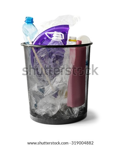 basket with plastic waste isolated on white background - stock photo
