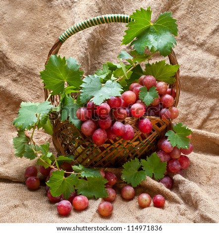 basket with red fresh grape - stock photo