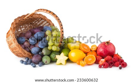 basket with ripe fesh fruits as a rainbow - stock photo