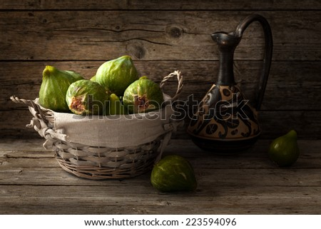 Basket with ripe figs in natural light.