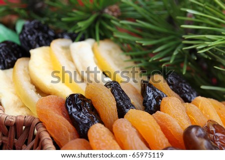 Basket with various dried fruits. Shallow dof - stock photo