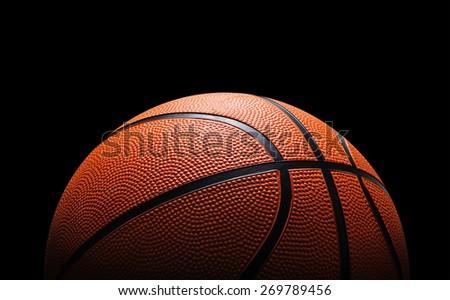 Basketball against black - stock photo