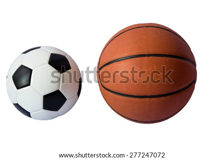 Basketball and soccer  ball isolated on white - stock photo