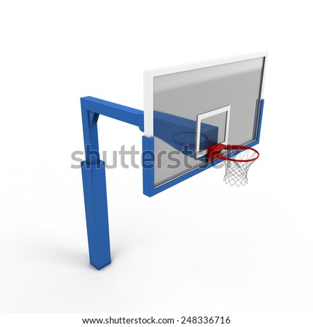 Basketball backboard close-up on a white. 3d render image. - stock photo