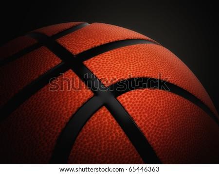 Basketball ball against a dark background - stock photo
