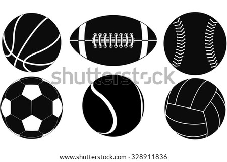 Basketball ball, Baseball ball, American football ball, Volleyball, Soccer ball, Tennis ball. Illustration isolated on white background. Raster version.