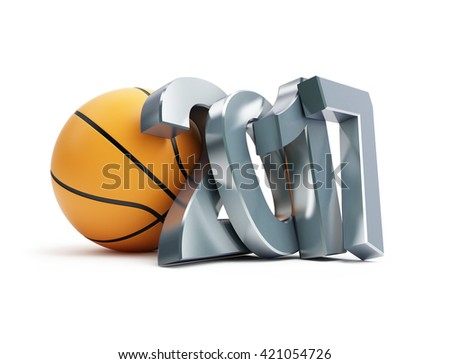 basketball ball 2017 3D illustration on a white background