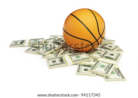 basketball ball dollar on a white background - stock photo