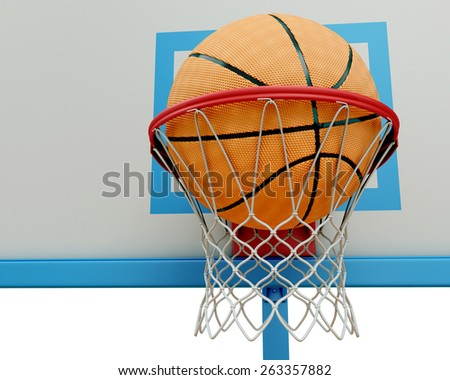 Basketball ball falling into a basketball hoop close-up. 3d render image. - stock photo