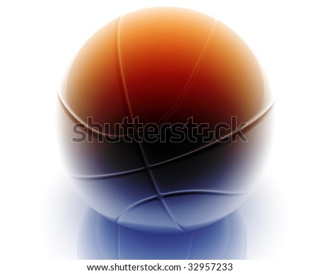 Basketball ball illustration glossy metal style isolated - stock photo
