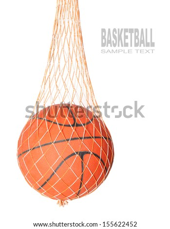 Basketball ball in a net isolated on white background. - stock photo