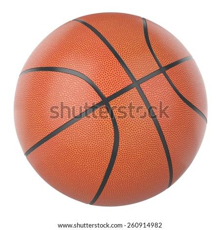 Basketball ball isolated on a white background. 3d illustration high resolution - stock photo