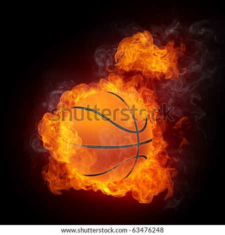 Basketball Ball on Fire. 2D Graphics. Computer Design. - stock photo