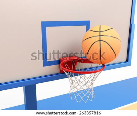 Basketball ball on the ring close-up. 3d illustration. - stock photo
