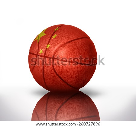 basketball ball with the national flag of china on a white background - stock photo