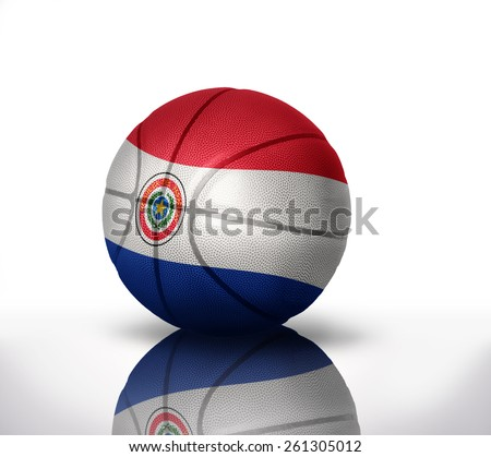 basketball ball with the national flag of paraguay on a white background