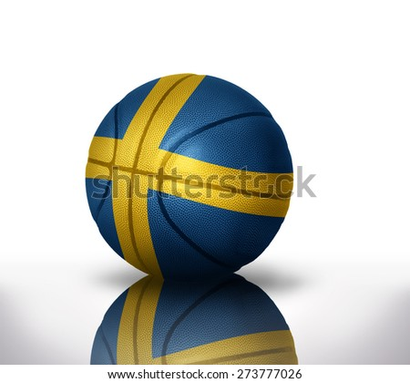basketball ball with the national flag of sweden on a white background - stock photo