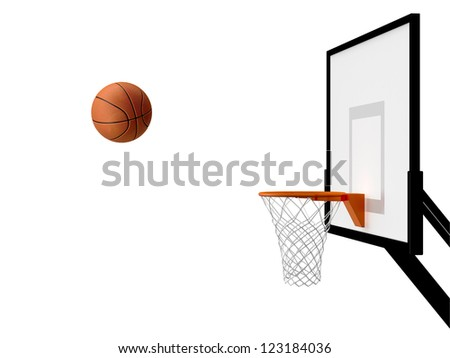 Basketball basket and ball in movement, isolated on white background. - stock photo