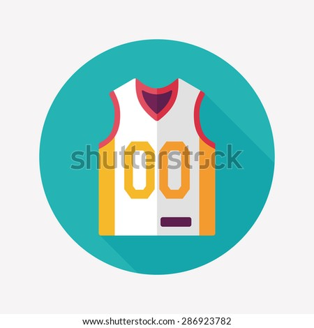 basketball clothing flat icon with long shadow