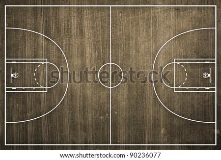 Basketball court floor plan on dust background - stock photo