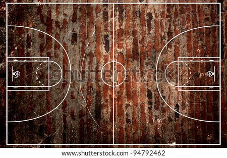 Basketball court floor plan on high grungy brick background - stock photo
