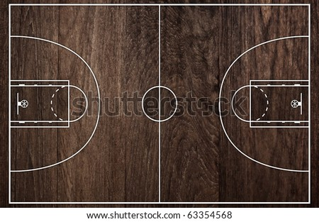 Basketball court floor plan on old brown wooden pattern - stock photo