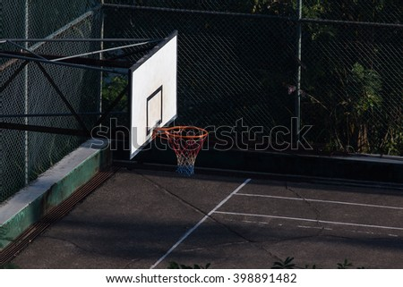 Basketball court in city. Outdoor playground - stock photo
