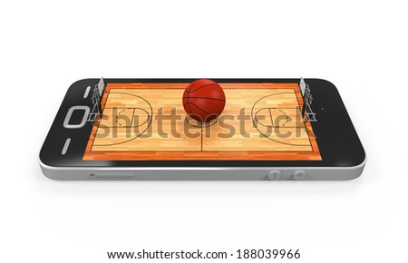 Basketball Court in Mobile Phone - stock photo