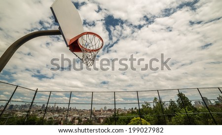 Basketball Court overlooking New York City Skyline - stock photo