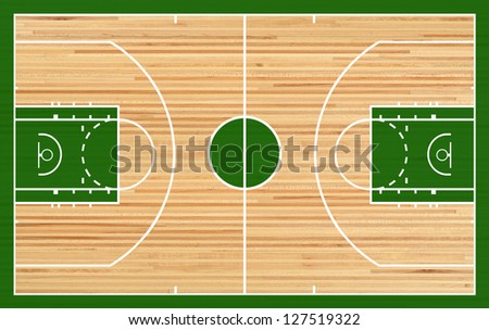 Basketball court, parquet - stock photo