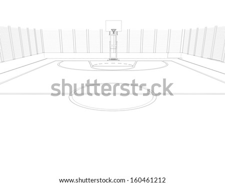 Basketball court. Wire frame. 3d render isolated on a black background - stock photo