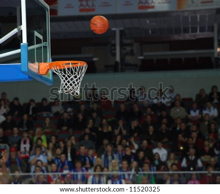 Basketball, exact throw of a ball in a basket