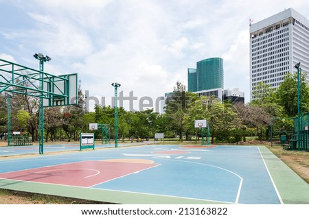 Basketball field in the city park of Thailand. - stock photo