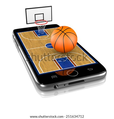 Basketball Field with Ball and Basket on Smartphone Display 3D Illustration Isolated on White Background - stock photo