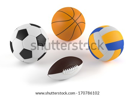 basketball, football, volleyball, rugby,soccer balls