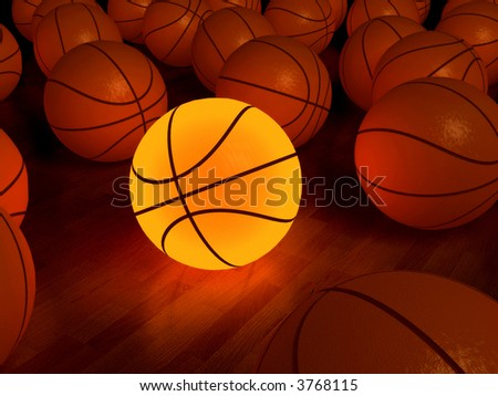basketball glow game ball over the hardwood floor (3D) - stock photo