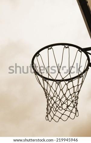 Basketball hoop against on the sky - stock photo