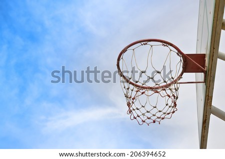 Basketball hoop against the sky.