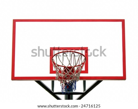 Basketball hoop and backboard isolated against a white background