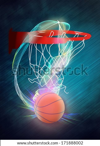 Basketball hoop and ball sport poster or flyer background with space - stock photo