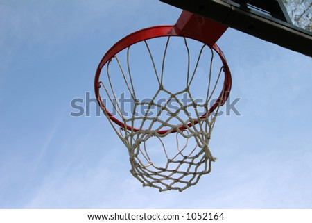 basketball hoop and net against a blue sky