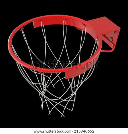 Basketball hoop basketball ball . isolated on black background. 3D image - stock photo