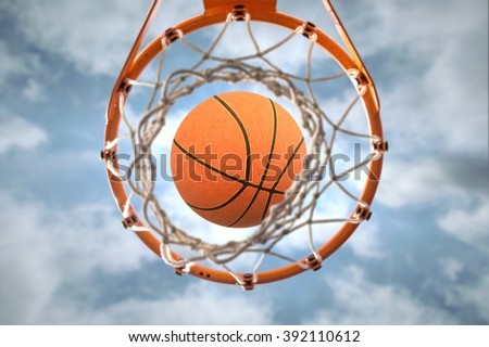 Basketball hoop blue sky - stock photo
