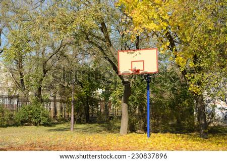 Basketball hoop in park - stock photo