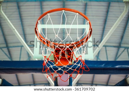 Basketball hoop in the gym - stock photo