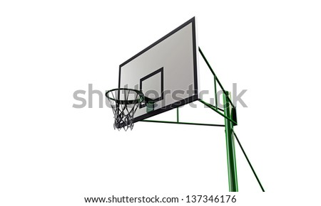 basketball hoop isolated on white background - stock photo