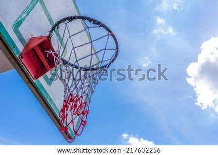 Basketball hoop on blue sky and cloud