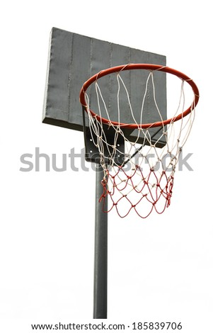 basketball hoop on isolated - stock photo