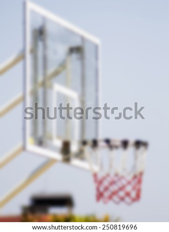 basketball hoop stand at playground in park,image is blur - stock photo