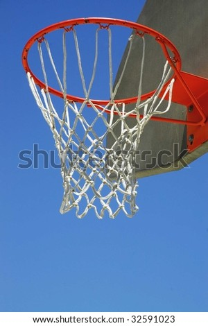 Basketball hoop vertical close up with room for text bellow net - stock photo